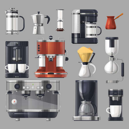 Coffee maker machines, cafe barista brewing tools