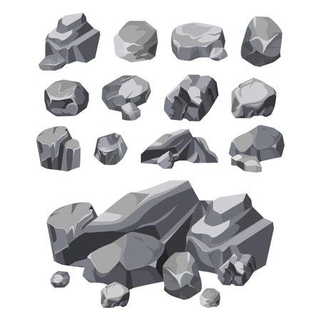 Rock stones, boulder piles, broken rubble blocks