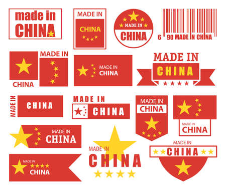 Made in China labels, quality certificate flags