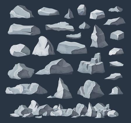 Rock stones, boulder piles, broken rubble blocks Ilustração