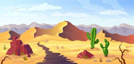Desert background Arizona cactus prairie landscape