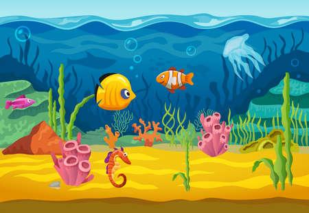 Sea underwater fishes, cartoon aquarium background