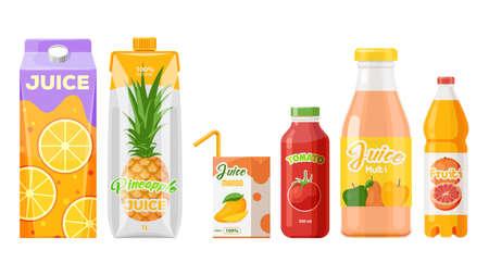 Juice packages, carton boxes, fruit drinks bottles