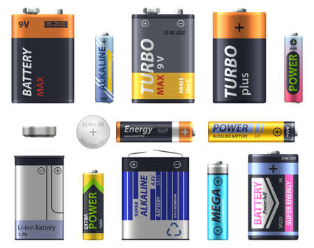 Battery types set, AA and AA sizes and models