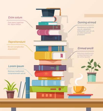 Books and graduation cap, education infographics vector
