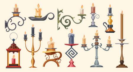 Candlesticks, candle holders and candelabra lights vector Ilustração