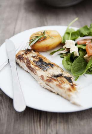 plated: Fish BBQ Stock Photo