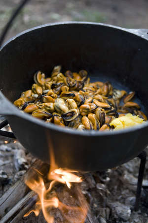 skillet: Mussels in a cast iron pot cooking on an open fire