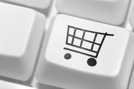 home stores: The button for purchases on the keyboard. Online shop.  Stock Photo