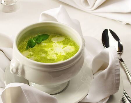 fare: Soup on the served table ...