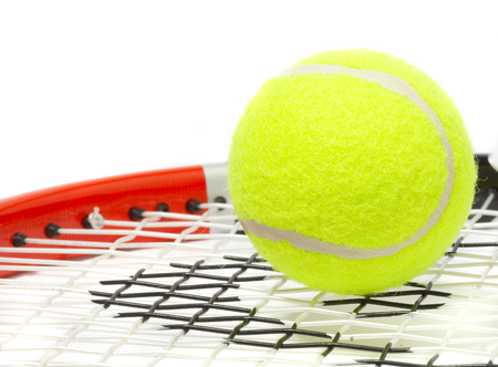 wimbledon: Tennis racket with a ball on a white background.