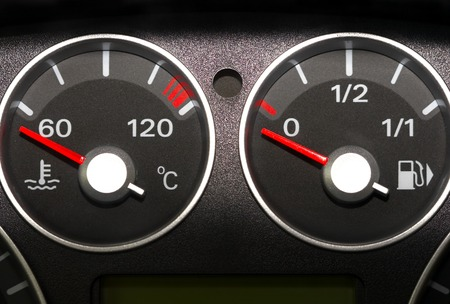 The instrument panel of the car. Red arrow. photo