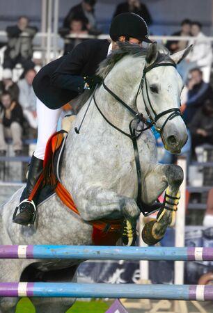hindrance: The jockey jumps through an obstacle...