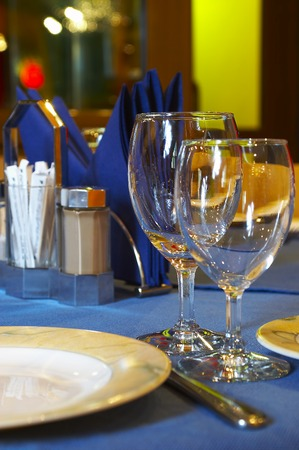 receptions: The served table at restaurant ...