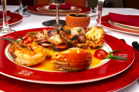 Tasty dish from sea products at restaurant