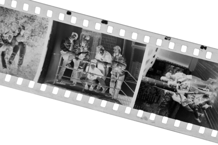 blackwhite: Old black-white photofilm. A negative 35mm... Stock Photo