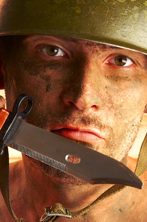 The soldier in a military helmet  Stock Photo - 1565591