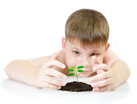 observes: The boy observes cultivation of a young plant - CONTEST