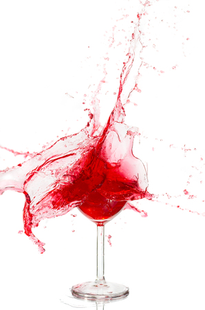 burgundy drink glass: Broken a glass with wine on a white background