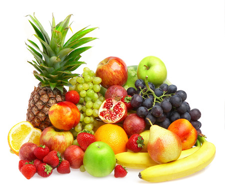 fruits background: Ripe fresh fruit. Wholesome food.