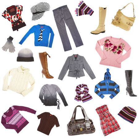 Ladys clothes and accessories on a white background Stock Photo