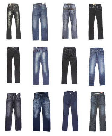 blue jeans: Female and mans jeans. Twelve pairs