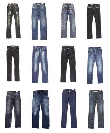 denim jeans: Female and mans jeans. Twelve pairs