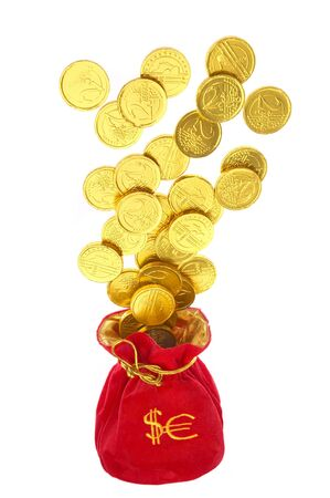 money bags with coins on a white background Stock Photo - 2102618