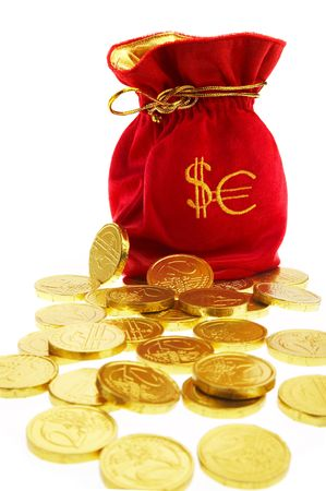 Bag of gold coins: money bags with coins on a white background