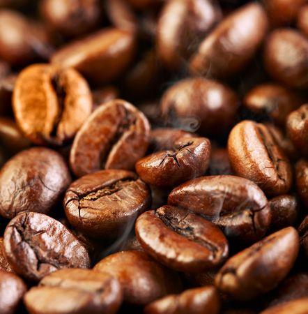 Fragrant fried coffee beans a-smoke... Stock Photo - 2613194