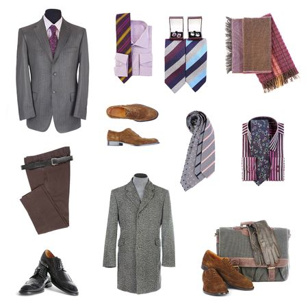 traditional clothes: Mens clothes  and accessories on a white background