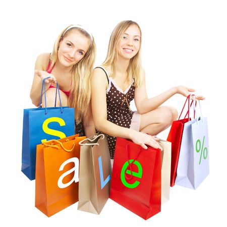 Two girls with bags on a white background Stock Photo - 2707060