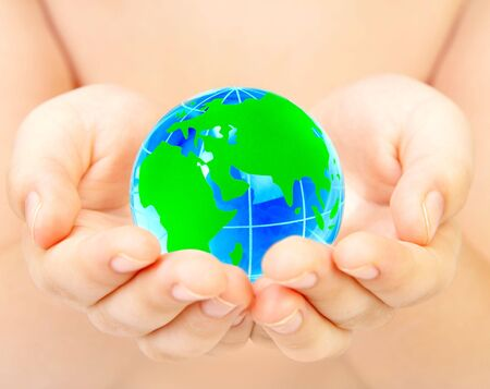 The hand of the person holds globe Stock Photo - 2832415