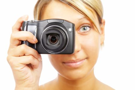 The girl with the camera on a white background photo