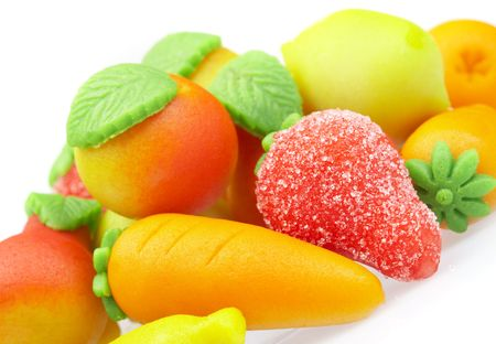 marzipan: The sweets marzipan. In the form of fruit Stock Photo