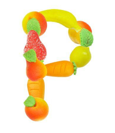 alfabeto a base de frutas, la letra P  Foto de archivo - 3417834
