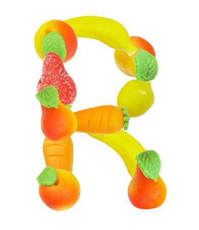 """alfabeto a base de frutas, la letra """"R""""�  Foto de archivo - 3417850"""