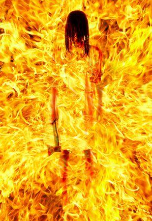axe girl: girl with an axe in a fiery flame...