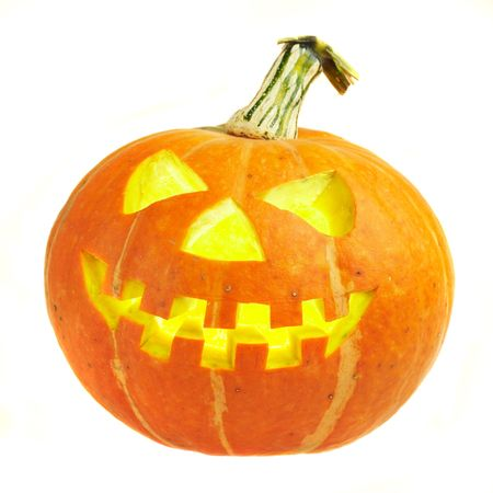 A scary old jack-o-lantern on white... photo