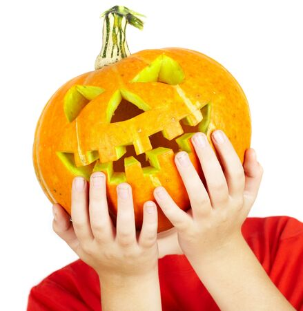 jackolantern: boy with jack-o-lantern. halloween... Stock Photo