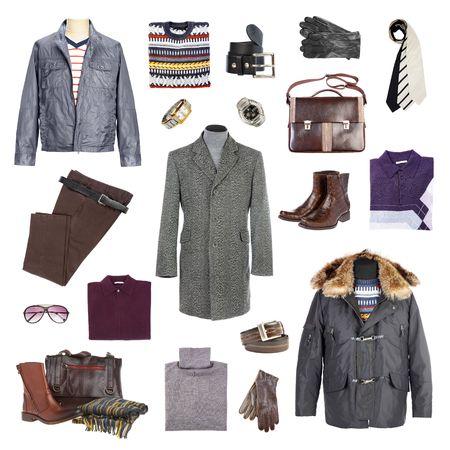ropa de invierno: Hombre de la ropa de invierno sobre un fondo blanco