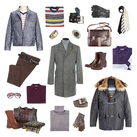 traditional clothes: Mans winter clothes on a white background Stock Photo