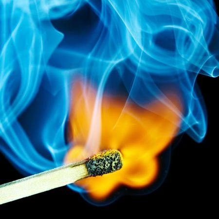 Match flame and smoke... Stock Photo - 4641650