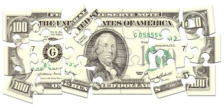 dollar made of puzzles over white background photo