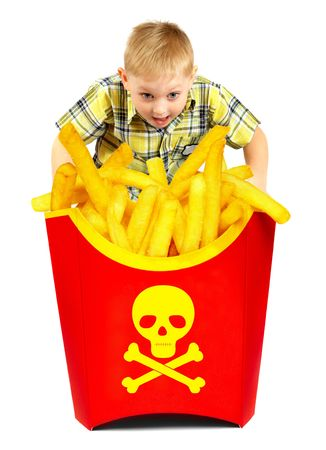 unhealthy: French fries in a red box