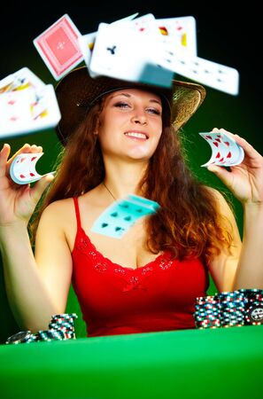 Photo of the girl with playing cards photo