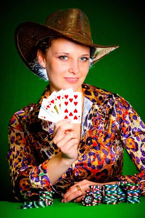 Photo of the girl with playing chips photo