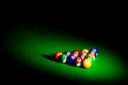 billiards tables: billiard balls with copy space...