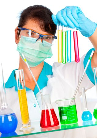Young scientist in laboratory with test tubes Stock Photo