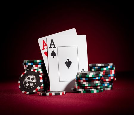 Stack of chips and two aces Stock Photo - 6532811